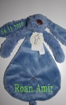 denim knuffeldoek borduren naam Happy horse